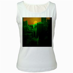 Green Building City Night Women s White Tank Top