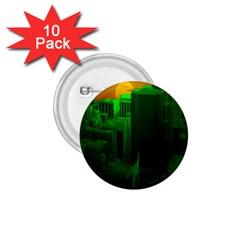 Green Building City Night 1.75  Buttons (10 pack)