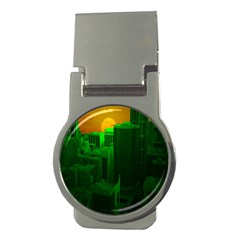 Green Building City Night Money Clips (round)