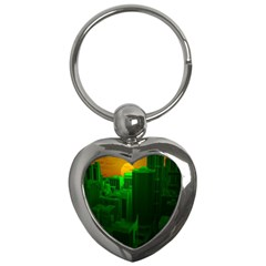 Green Building City Night Key Chains (heart)