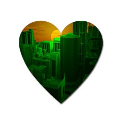 Green Building City Night Heart Magnet