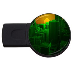 Green Building City Night USB Flash Drive Round (1 GB)