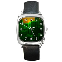 Green Building City Night Square Metal Watch