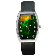 Green Building City Night Barrel Style Metal Watch