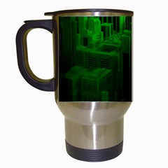 Green Building City Night Travel Mugs (White)
