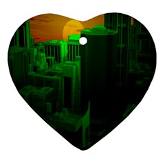 Green Building City Night Heart Ornament (Two Sides)