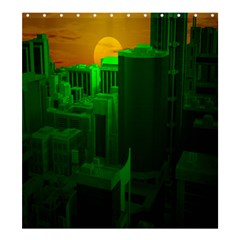Green Building City Night Shower Curtain 66  X 72  (large)
