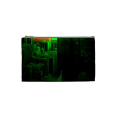 Green Building City Night Cosmetic Bag (Small)