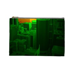Green Building City Night Cosmetic Bag (Large)