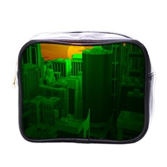Green Building City Night Mini Toiletries Bags