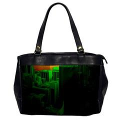 Green Building City Night Office Handbags