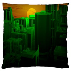 Green Building City Night Large Cushion Case (Two Sides)