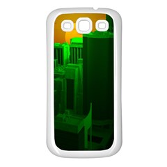 Green Building City Night Samsung Galaxy S3 Back Case (white)
