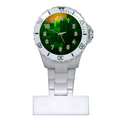 Green Building City Night Plastic Nurses Watch