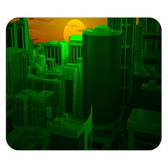 Green Building City Night Double Sided Flano Blanket (Small)