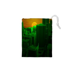 Green Building City Night Drawstring Pouches (XS)