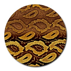 Golden Patterned Paper Round Mousepads