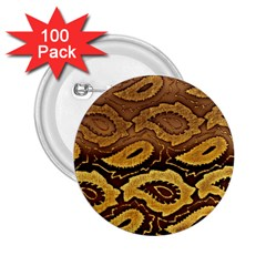 Golden Patterned Paper 2.25  Buttons (100 pack)