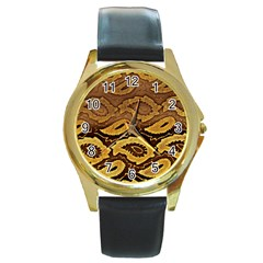Golden Patterned Paper Round Gold Metal Watch