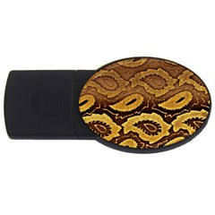 Golden Patterned Paper Usb Flash Drive Oval (2 Gb)