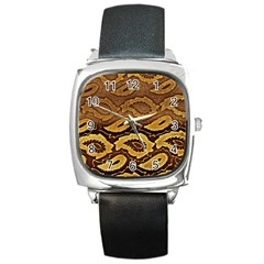 Golden Patterned Paper Square Metal Watch