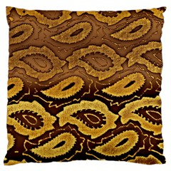 Golden Patterned Paper Large Flano Cushion Case (One Side)