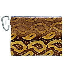 Golden Patterned Paper Canvas Cosmetic Bag (xl)