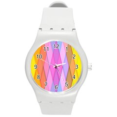 Graphics Colorful Color Wallpaper Round Plastic Sport Watch (m)