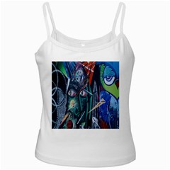 Graffiti Art Urban Design Paint White Spaghetti Tank