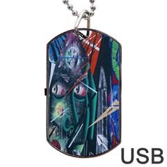 Graffiti Art Urban Design Paint Dog Tag USB Flash (One Side)