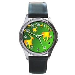 Gold Reindeer Round Metal Watch