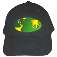 Gold Reindeer Black Cap