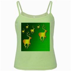 Gold Reindeer Green Spaghetti Tank
