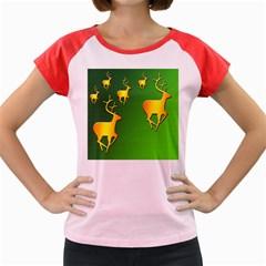 Gold Reindeer Women s Cap Sleeve T-Shirt