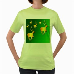 Gold Reindeer Women s Green T-Shirt