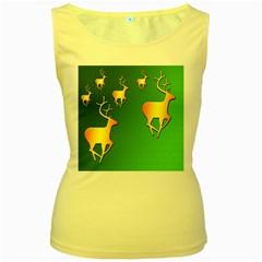 Gold Reindeer Women s Yellow Tank Top