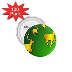 Gold Reindeer 1.75  Buttons (100 pack)