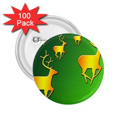 Gold Reindeer 2.25  Buttons (100 pack)