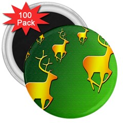 Gold Reindeer 3  Magnets (100 pack)