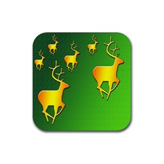 Gold Reindeer Rubber Square Coaster (4 pack)