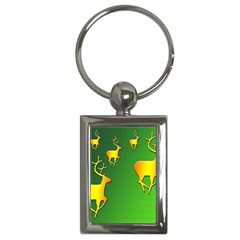 Gold Reindeer Key Chains (Rectangle)