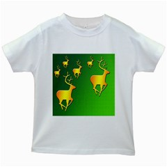 Gold Reindeer Kids White T-Shirts