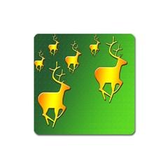 Gold Reindeer Square Magnet