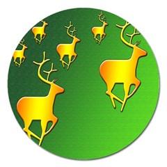 Gold Reindeer Magnet 5  (Round)