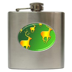 Gold Reindeer Hip Flask (6 oz)