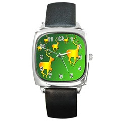Gold Reindeer Square Metal Watch