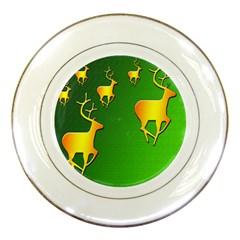 Gold Reindeer Porcelain Plates