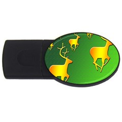 Gold Reindeer Usb Flash Drive Oval (4 Gb)