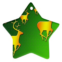 Gold Reindeer Star Ornament (Two Sides)