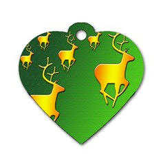 Gold Reindeer Dog Tag Heart (two Sides)